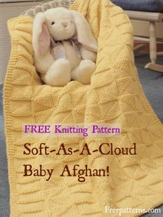 Free Soft-as-a-Cloud Knitting Pattern -- Download this free baby blanket knitting pattern from FreePatterns.com.