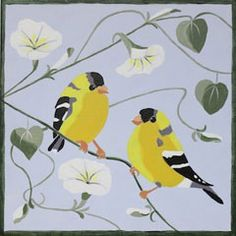 Social Artworking Canvas Painting Design - Finches and Morning Glories