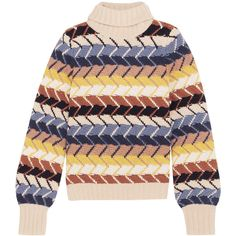 Chloé Merino wool and cashmere-blend turtleneck sweater ($1,850) ❤ liked on Polyvore featuring tops, sweaters, ivory, turtleneck sweater, merino sweater, turtle neck top, colorful sweaters and textured sweater