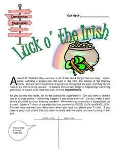 Luck o' the Irish is a creative activity originally designed for gifted & talented children, but clearly appropriate for all students.  Included in this set are general directions, an assignment sheet, notes to the teacher, and a participation certificate.  FREE