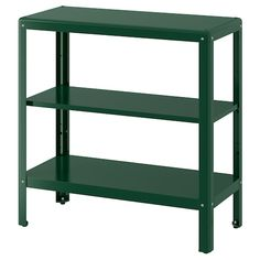 KOLBJÖRN Shelving unit in/outdoor, green. Suitable for both indoor and outdoor use. The shelving unit is durable, easy to clean and protected from rust since it is made of powder-coated galvanised steel. Outdoor Shelves, Outdoor Storage, Green Shelves, Ikea Regal, Paper Industry, Wood Supply, Parasol, Black Stainless Steel, Interior Exterior