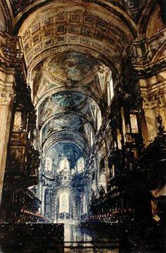Paul Dmoch - Cathédrale Saint-Paul de Londres - aquarelle originale 115 x 85