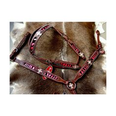 BRIDLE WESTERN LEATHER HEADSTALL BREAST COLLAR PINK BLING SET RODEO... via Polyvore