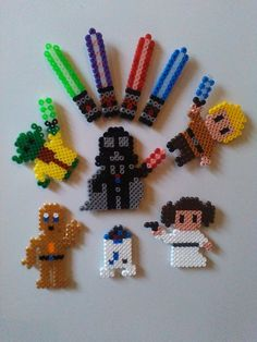Fridge magnets - fridge magnets, Star Wars, ironing beads - a design . - Fridge Magnets – fridge magnets, Star Wars, ironing beads – a unique product by Astrid-Zaub - Perler Bead Designs, Perler Bead Templates, Diy Perler Beads, Perler Bead Art, Perler Patterns, Pearler Beads, Fuse Beads, Hama Beads Minecraft, Bead Crafts