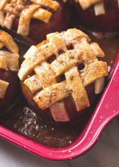 Caramel Apple Pie Baked in an Apple