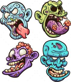 Cartoon zombie heads. Vector clip art illustration with simple gradients. Each on a separate layer. EPS10 file included.