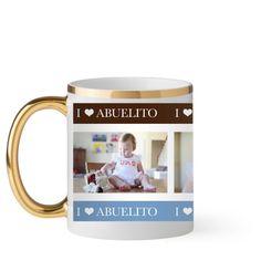 Yo Amo Mug, Gold Handle, 11 oz, White