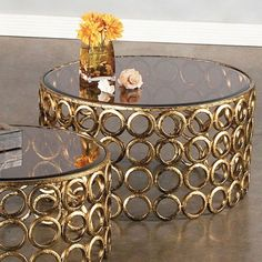 Large Saturn Coffee Table in Gold