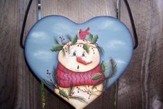 Primitive Holly Snowman Heart Plaque