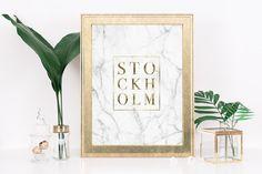 Gold Stockholm Print Poster  City Print  Luxury by printiteasy