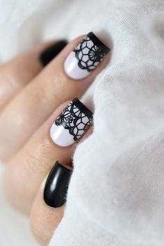 Marine Loves Polish: Nailstorming - Saint Valentin / Lace Nail Art [VIDEO TUTORIAL] - Black lace nails - BM-XL302 - Bundle Monster - Sexy nail art #nailart