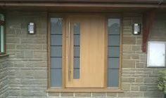 Modern Contemporary Front Doors Oak Door With Satin Glass Side Lights Modern Oak Door Contemporary Front Doors, Modern Front Door, Modern Contemporary, Oak Front Door, Best Front Doors, Porch Uk, Glass Porch, Front Door Lighting, Oak Doors
