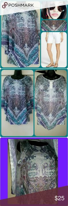 *One World* 2pc Bohemian Top Teal/Purple/ White/Green mixed print Bohemian top. 2pcs: tank and sheer overlay. NWT 100% Polyester ONE WORLD Tops