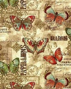 This listing is for a full or half yard of a beautiful nostalgic vintage butterfly fabric from Benartex. Parchment-like background in teal with a postcard undertone. Vintage Labels, Vintage Ephemera, Vintage Cards, Vintage Paper, Vintage Postcards, Vintage Images, Decoupage Vintage, Decoupage Paper, Watercolor Card