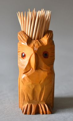 Vintage tooth pick holder owl wood GDR East by MightyVintage
