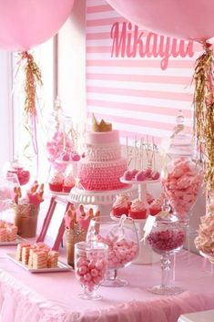 Pink and gold party ideas via Kara's Party Ideas.                                                                                                                                                     More