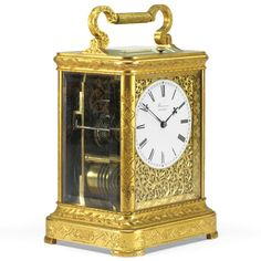 A FINE LARGE ENGRAVED GILT-BRASS REPEATING CARRIAGE CLOCK, BARWISE, LONDON, CIRCA 1840