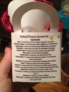 "Softball survival kit. I gave these out to teammates after the season. I filled little goody bags that included the ""ingredients"" and then printed this sheet out and glued it on the back to explain everything. Great and simple gift the whole team will enjoy:)"