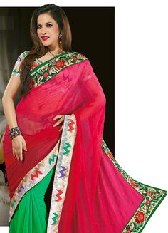 Contemporary Red and Green Faux Georgette with Super Net Party Wear Saree - IG9136 USD $ 59.42