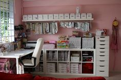 "#Craft #Storage ideas: #craftroom #organization. Ikea cube storage and tall drawer. Curtain rod under the shelf for ""clip it up"". PINK!"