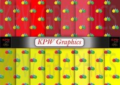 Set of 16 Christmas Baubles on Red and Yellow by KPWgraphics