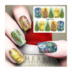 ZKO 1 Sheet Nail Art Water Transfer Christmas Tree Design Sticker Watermark Decals DIY Beauty Nail Tips Decoration Wraps Tools #Affiliate