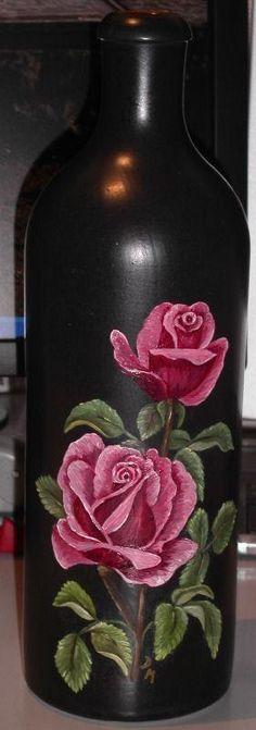 Ölmalereien Old Wine Bottles, Painted Wine Bottles, Vintage Bottles, Bottles And Jars, Glass Bottles, Mason Jars, Diy Bottle, Bottle Vase, Bottle Crafts