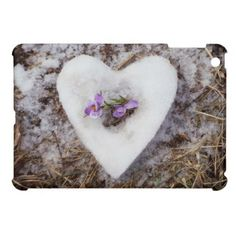 Spring crocus in snow heart photograph iPad mini cover - valentines day gifts diy couples special day