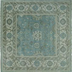 Oriental Oushak 9' Square Hand Knotted Wool Rug W686