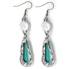 Amazon.com: $8.50 Ginasy Silver Plated Long Turquoise Drop Dangle Earrings: Jewelry