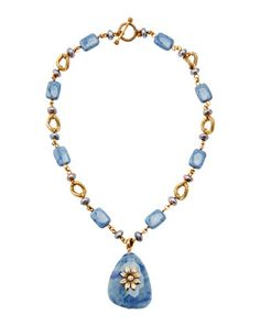 Dumortierite and Jade Purple Pearl Pendant Necklace by Stephen Dweck at Neiman Marcus Last Call.