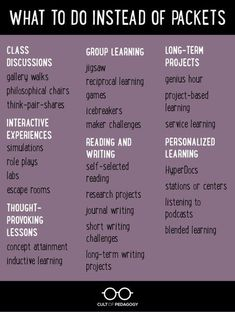 Frickin' Packets | Cult of Pedagogy Instructional Coaching, Instructional Strategies, Teaching Strategies, Teaching Tips, Instructional Technology, Siop Strategies, Cooperative Learning Strategies, Differentiation Strategies, Inquiry Based Learning