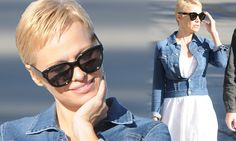 Pamela Anderson shows off pixie cut in flowing dress and denim jacket..Do you like it??!