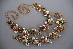 FLORENZA Vintage pastèque Collier Bracelet Demi Parure Aurora