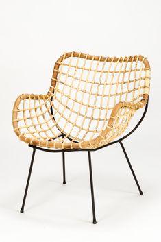 Carlo di Carli; Enameled Metal and Bamboo Lounge Chair, 1950s.