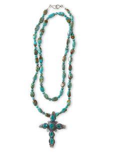 Turquoise Necklace & Cross Pendant
