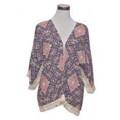 Kimono con estampado azteca