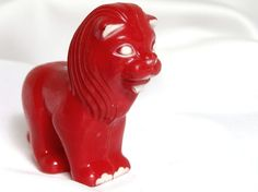 Vintage Red Hard Plastic Lion by bythewayside on Etsy