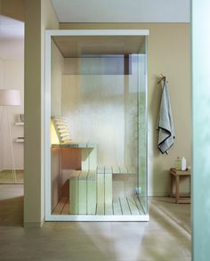 The Inipi Sauna is a compact solution to saving space in the bathroom, without sacrificing any of the comforts that a sauna can offer. The ingenious design of the Inipi Sauna means it can fit into almost any room, while still offering plenty of space i Design Sauna, Modern Saunas, Indoor Sauna, Sauna Room, Interior Minimalista, Compact Living, Duravit, Bathroom Furniture, Changing Tables