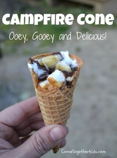 Campfire Cones Sugar Cones    *  Peanut Butter     *  Mini Marshmallows    *  Chocolate Chips    *  Bananas    *  Aluminum Foil Chop bananas, spread PB inside cone and add other ingredients. Wrap in foil and place over hot coals for 8-10 minutes.