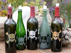 Re-purposed wine bottles that transform into oil lamps, or olive oil dispensers.