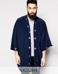 Reclaimed Vintage Kimono Jacket With Polka Dot Trim