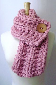 Light Pink Chunky Knit Cowl Scarf with Large Tan Button by LaurasLovelyKnits, $39.00