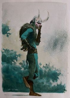 ESAD RIBIC - LOKI watercolor painting Comic Art