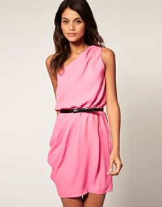 One shoulder dress + wrap dress style! AND its pink happiness :)
