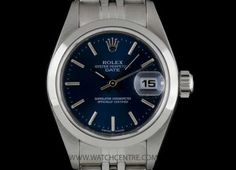Rolex S/S Oyster Perpetual Blue Baton Dial Date Ladies Watch B&P 79160 Dating Women, Rolex Oyster Perpetual, Vintage Rolex, Breitling, Oysters, Cartier, Omega Watch, Rolex Watches, Blue