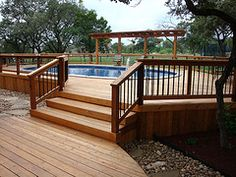 Oval Above Ground Pool with Wooden Deck Entrance - Bexar County