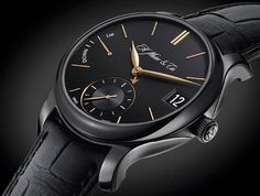 H Moser Perpetual Calendar Black Edition angle view via Perpetuelle