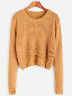 Khaki Eyelet Dip Hem Cable Knit Sweater