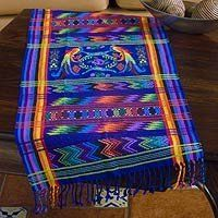 NOVICA Cotton table runner, 'Blue Quetzal' by NOVICA. $107.95. Woven by hand on a backstrap loom this elegant table runner depicts the quetzal Guatemala's emblematic bird. Its splendid plumage was prized by the ancient Maya and the shy bird can still be glimpsed in the rainforest of Central America. Mayra Leticia Hernandez shares her textile expertise and love of colors with this beautiful weaving.